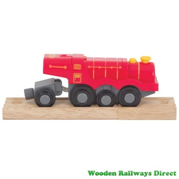 Bigjigs Wooden Railways Big Red Steam Battery Operated Locomotive BJT307