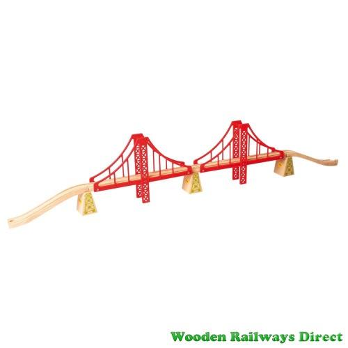 Bigjigs Wooden Railway Double Suspension Bridge