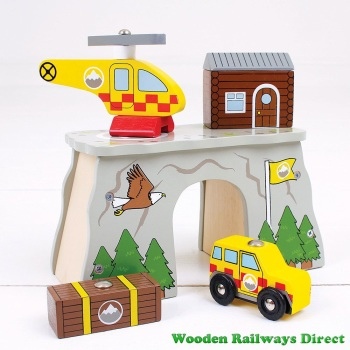 Bigjigs Wooden Railway Fire and Rescue Mountain Rescue Tunnel