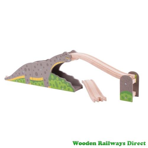 Bigjigs Wooden Railway Dinosaur Bronto Riser Bridge