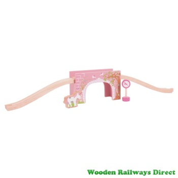 Bigjigs Wooden Railway Fairy Pink Arched Bridge