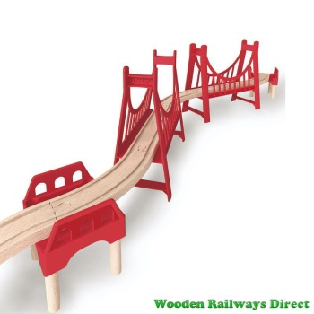 Hape Wooden Railway Extended Double Suspension Bridge