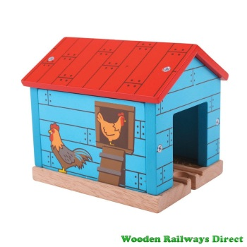 Bigjigs Wooden Railway Farm Chicken Shed Tunnel