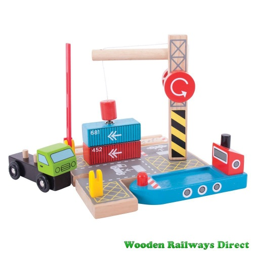 Bigjigs Wooden Railway Container Shipping Yard