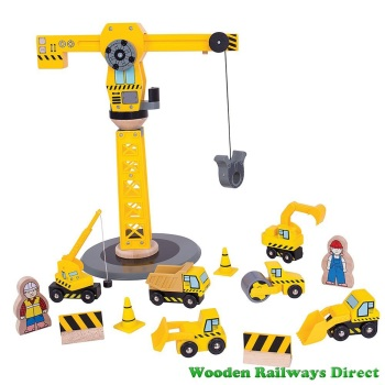 Bigjigs Wooden Railway Big Yellow Crane and Construction Set