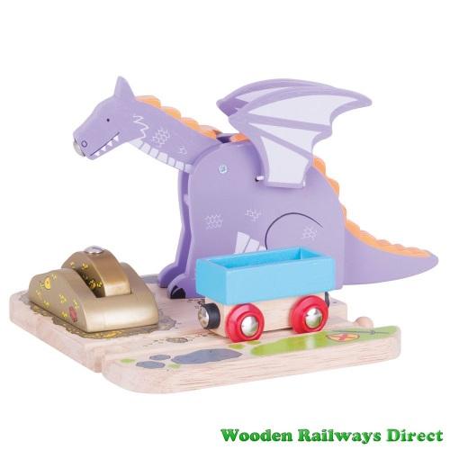 Bigjigs Wooden Railways Medieval Dragon Crane
