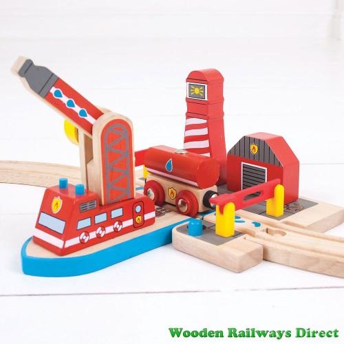 Bigjigs Wooden Railway Fire Sea Rescue