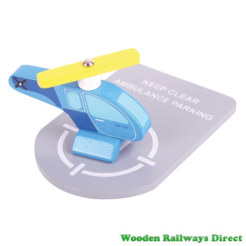 Bigjigs Wooden Railway Helicopter and Heli Pad