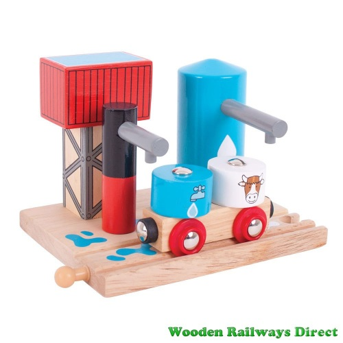 Bigjigs Wooden Railway Milk and Water Train Depot