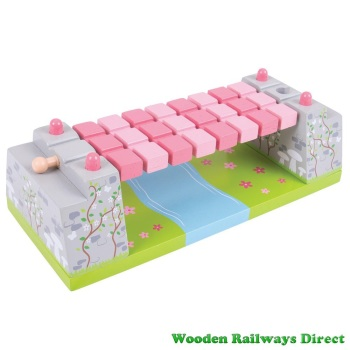 Bigjigs Wooden Railway Pink Rope Fairy Bridge