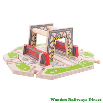 Bigjigs Wooden Railways Industrial Turntable