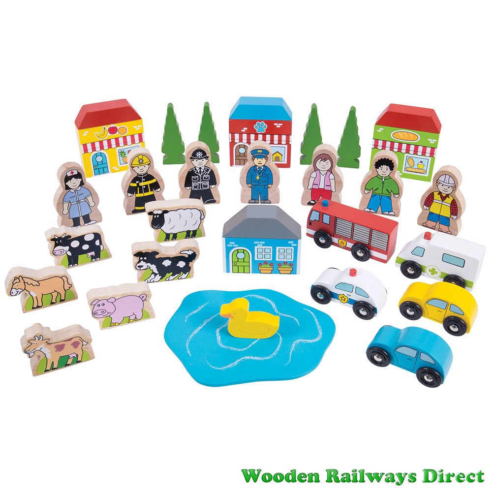 Bigjigs Wooden Railway Trackside Accessory Set