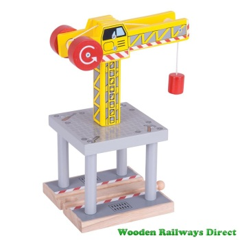 Bigjigs Wooden Railway Yellow Crane