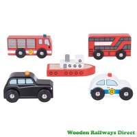 Bigjigs Wooden Railway City Vehicle Set