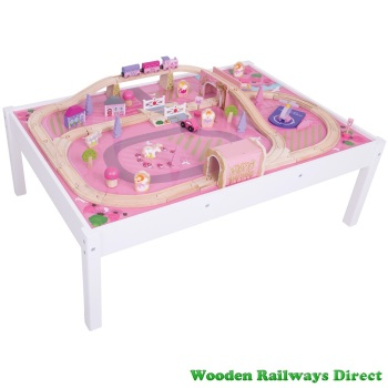 Bigjigs Wooden Railway Fairy Magical Train Set and Table