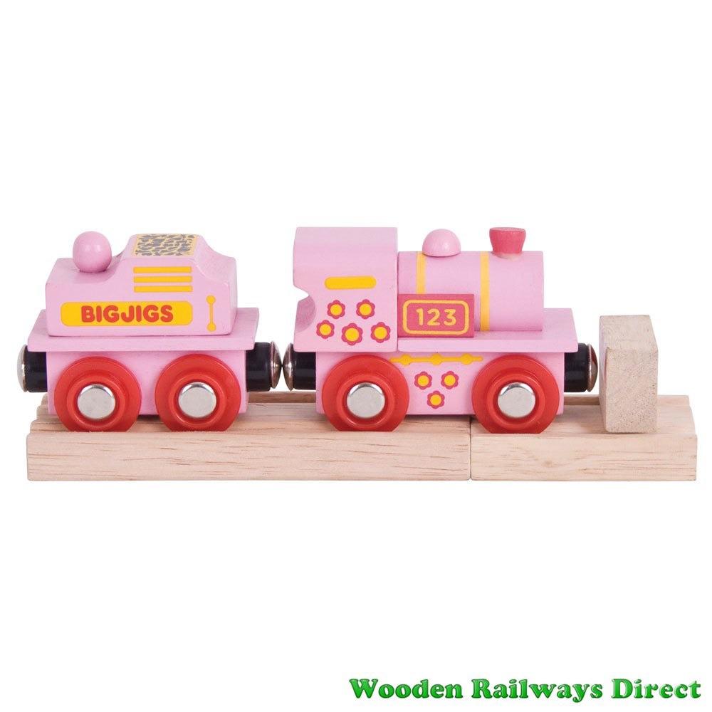 Bigjigs Wooden Railway Fairy Pink 123 Engine