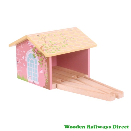 Bigjigs Wooden Railway Fairy Pink Double Engine Shed