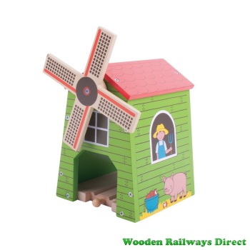Bigjigs Wooden Railway Farm Country Windmill