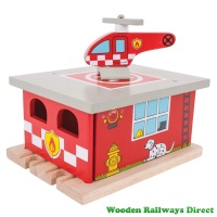 Bigjigs Wooden Railway Fire and Rescue Fire Station Shed