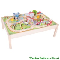 Bigjigs Wooden Railway Fire Station Train Set and Table