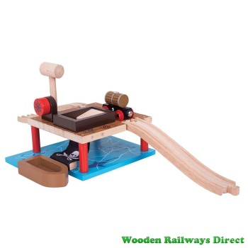 Bigjigs Wooden Railway Pirate Barrel Drop