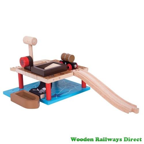 Bigjigs Wooden Railway Pirate Barrel Drop