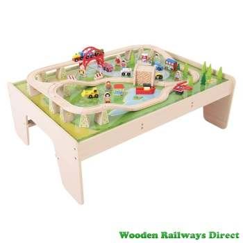 Bigjigs Wooden Railway Services Train Set & Table