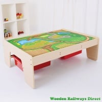 Bigjigs Wooden Railway Train Table with Drawers