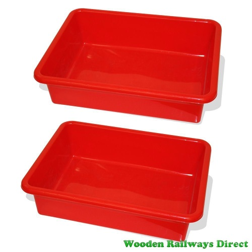 Bigjigs Wooden Railway Train Table Drawers (Red) ( Pack of 2)