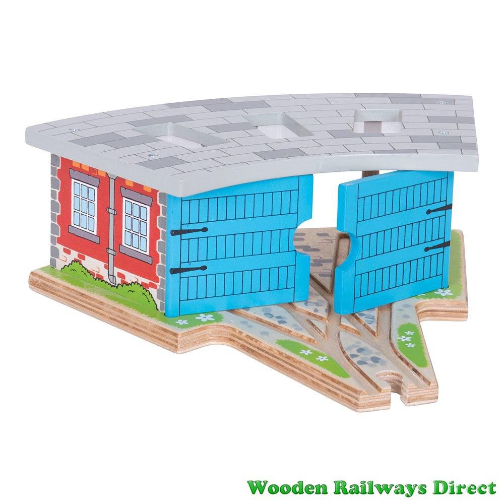 Bigjigs Wooden Railway Triple Engine Shed