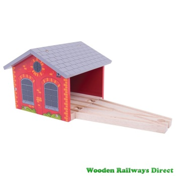 Bigjigs Wooden Railway Double Engine Shed