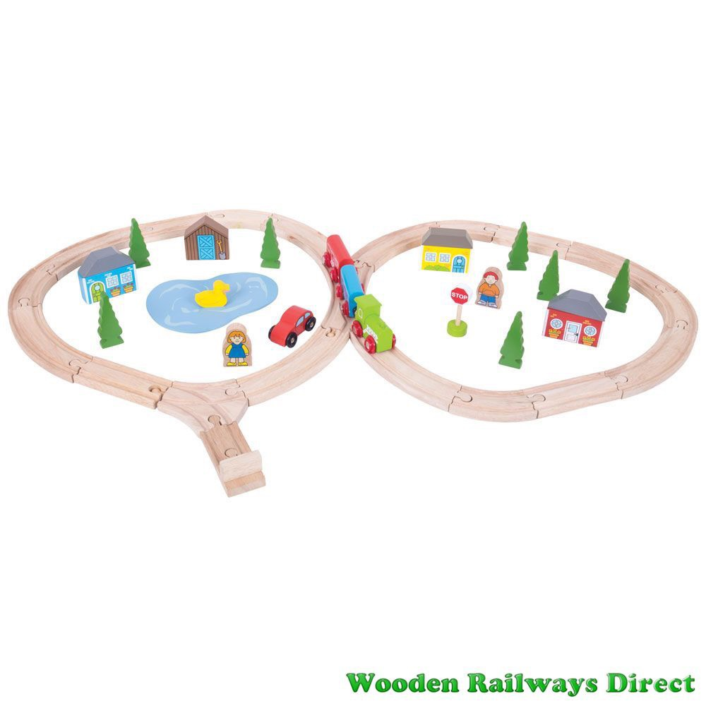 Bigjigs Wooden Railway Country Crossing Train Set