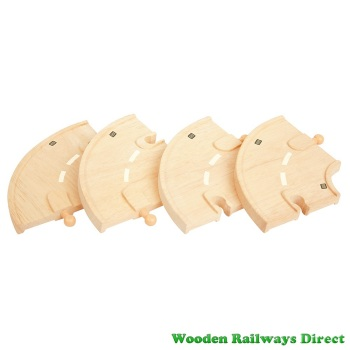 Bigjigs Wooden Railway Curved Roadway