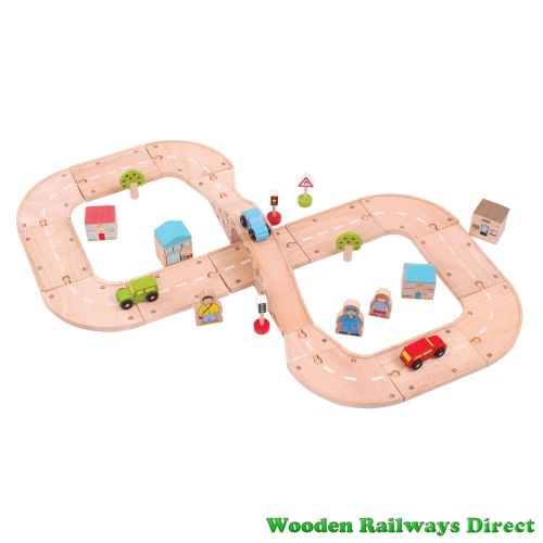 Bigjigs Wooden Railway Figure of Eight Roadway