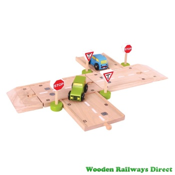 Bigjigs Wooden Railway T-Junction Road Set