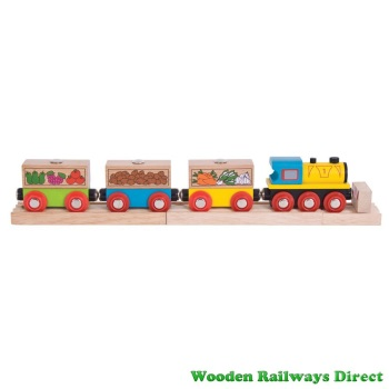 Bigjigs Wooden Railway Fruit and Veg Train
