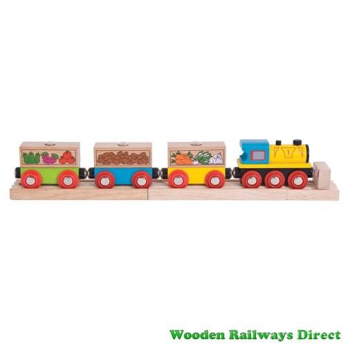 Bigjigs Wooden Railway Fruit and Veg Train