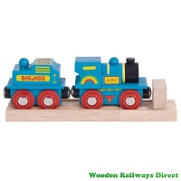 Bigjigs Wooden Railway Blue ABC Engine