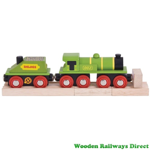 Bigjigs Wooden Railway Big Green Engine and Coal Tender