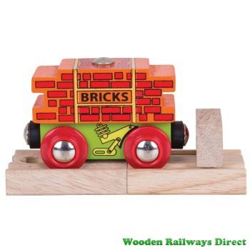 Bigjigs Wooden Railway Bricks Wagon