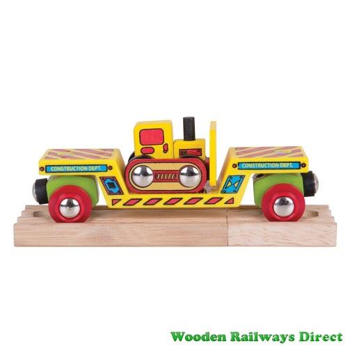 Bigjigs Wooden Railway Bulldozer Low Loader