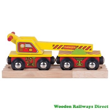 Bigjigs Wooden Railway Crane Wagon