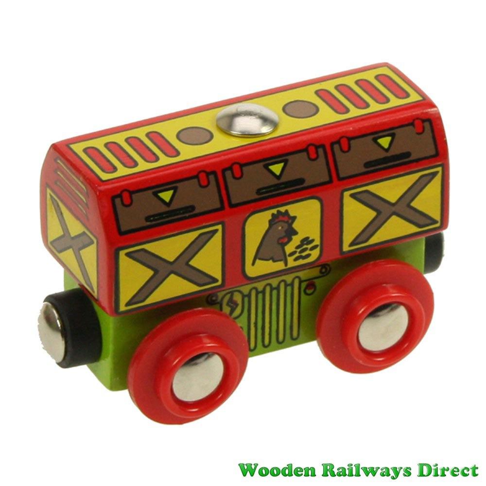 Bigjigs Wooden Railway Chicken Wagon