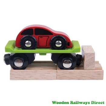 Bigjigs Wooden Railway Car Carriage with Car