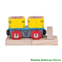 Bigjigs Wooden Railway Oil Barrels Wagon