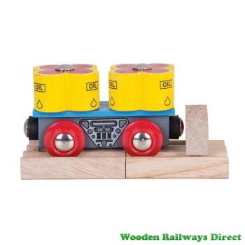 Bigjigs Wooden Railway Oil Barrels Wagon