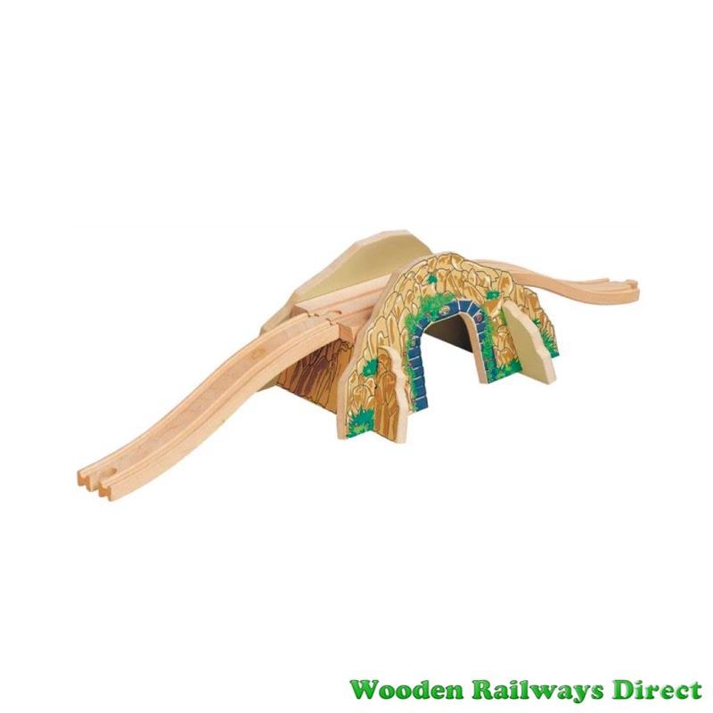 Wooden Railway Mountain Overpass Bridge and Tunnel