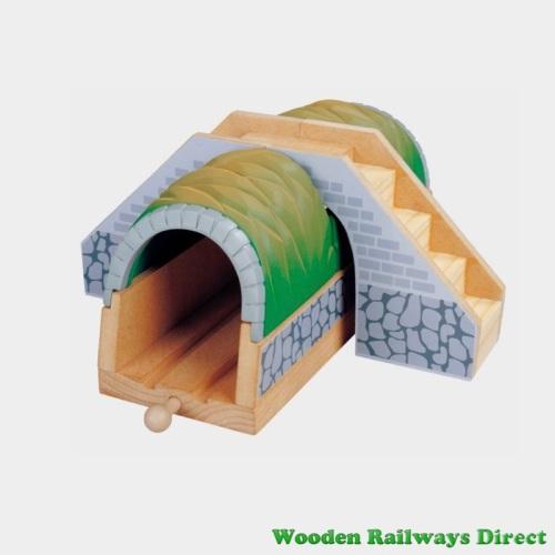 Wooden Railway Tunnel with Footbridge
