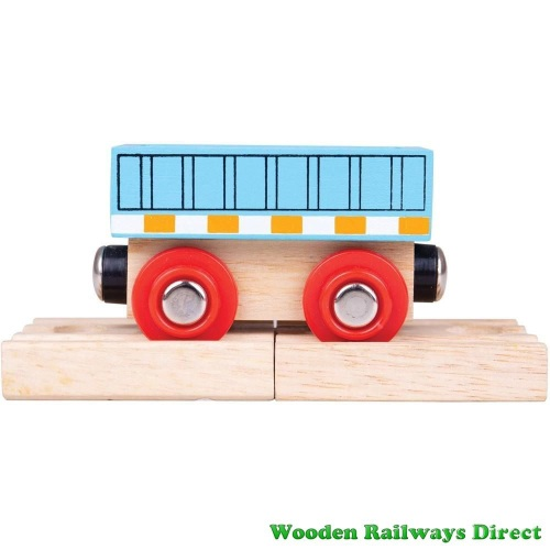Bigjigs Wooden Railway Blue Wagon