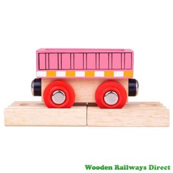 Bigjigs Wooden Railway Pink Wagon